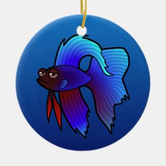 Pescados de Betta del dibujo animado/pescados que Adorno Navideño Redondo De Cerámica