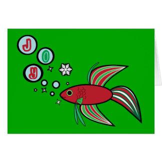 Pescados de Betta en las burbujas del navidad de Tarjeta De Felicitación
