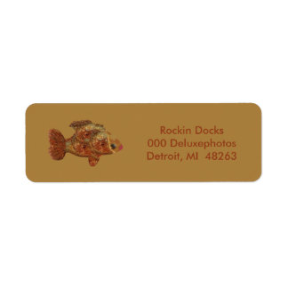 Pescados de bronce etiquetas de remite