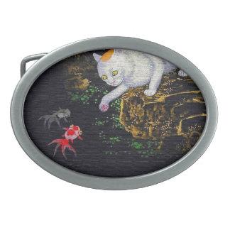 Pescados de cogida del gato asiático del vintage hebilla de cinturón oval