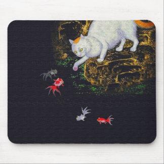 Pescados de cogida del gato asiático del vintage tapetes de ratón