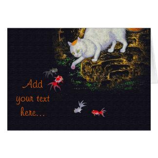 Pescados de cogida del gato asiático del vintage tarjeta de felicitación