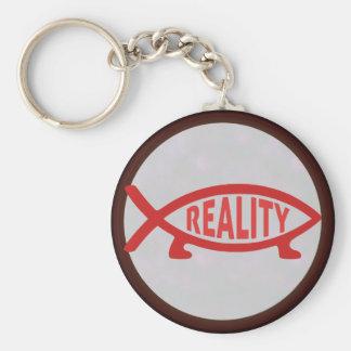 Pescados de Darwin de la realidad Llavero Redondo Tipo Pin