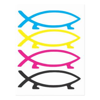 pescados de darwin del cmyk postal
