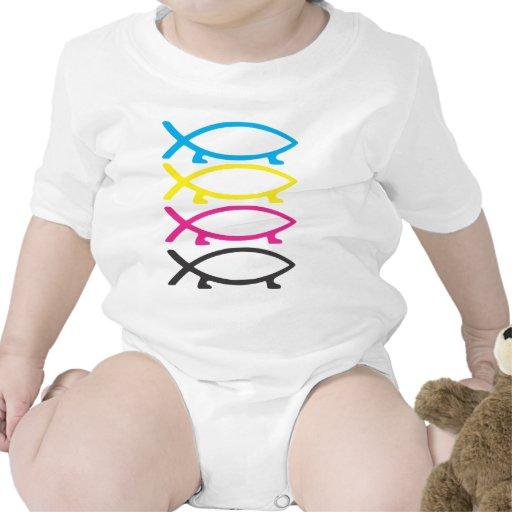 pescados de darwin del cmyk trajes de bebé