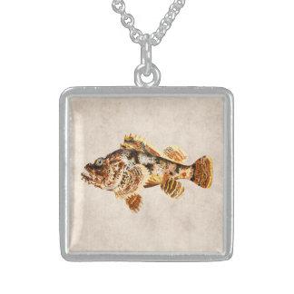 Pescados de escorpión del vintage - impresión hawa colgante cuadrado