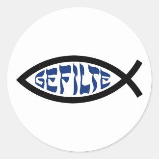 Pescados de Gefilte Jesús Pegatina Redonda