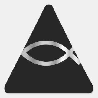 Pescados de Ichthys del cristianismo Pegatina Triangular