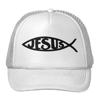 Pescados de Jesús (negro del gorra) Gorros Bordados