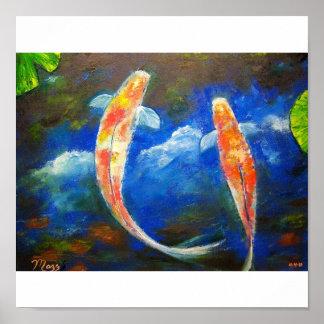 Pescados de Koi con arte de las reflexiones de la  Póster
