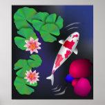 Pescados de Koi del japonés, flores de Lotus y Agu Impresiones
