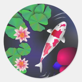 Pescados de Koi del japonés flores de Lotus y Agu Etiqueta Redonda