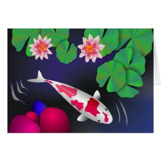 Pescados de Koi del japonés, flores de Lotus y Tarjeta De Felicitación