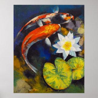 Pescados de Koi e impresión del lirio de agua Poster