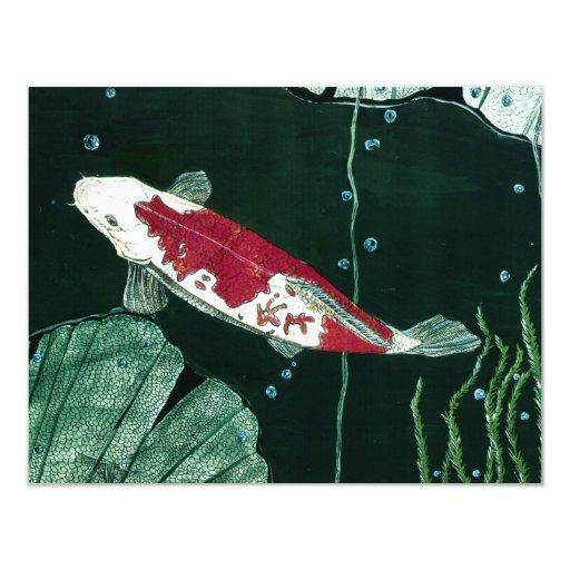 """Pescados de Koi en la charca Invitación 4.25"""" X 5.5"""""""
