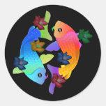 Pescados de Koi Etiquetas Redondas