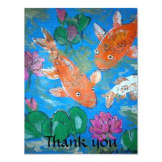"""Pescados de Koi y tarjeta de Lotus gracias Invitación 4.25"""" X 5.5"""""""