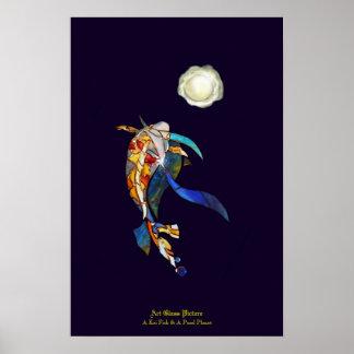 Pescados de Koi y un planeta de la perla en papel Póster