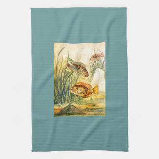 Pescados de la acuarela del vintage toalla de cocina
