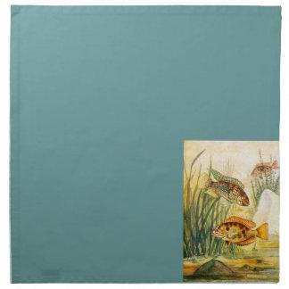 Pescados de la acuarela del vintage servilletas imprimidas