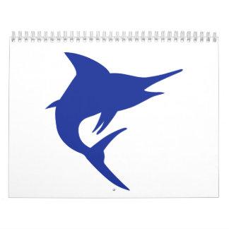 Pescados de la aguja azul calendario