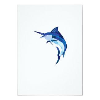 """Pescados de la aguja azul que saltan el polígono invitación 4.5"""" x 6.25"""""""
