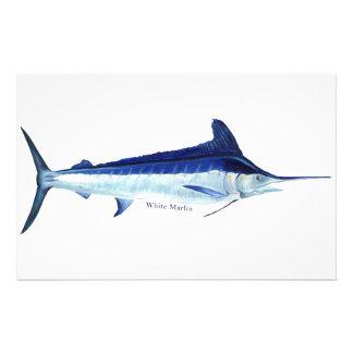 Pescados de la aguja blanca inmóviles personalized stationery