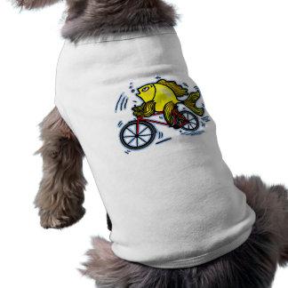 Pescados de la bicicleta (bici) playera sin mangas para perro