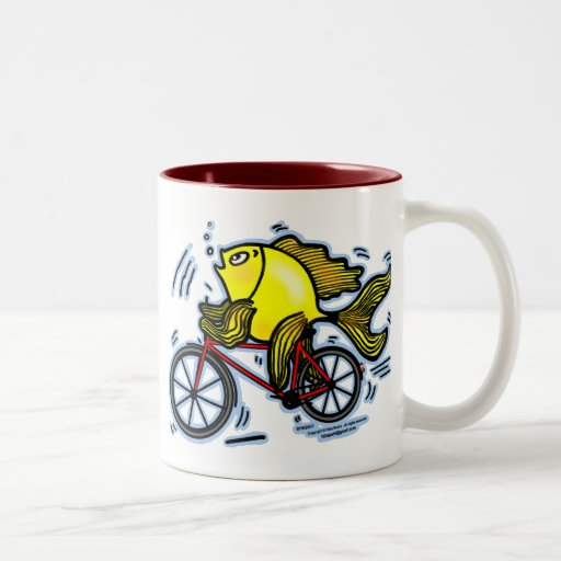 Pescados de la bicicleta (bici) tazas de café