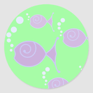 Pescados de la burbuja de la lila pegatina redonda