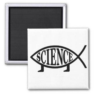 Pescados de la ciencia imán cuadrado