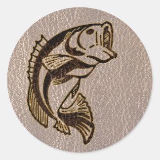 Pescados de la Cuero-Mirada suaves Pegatina Redonda