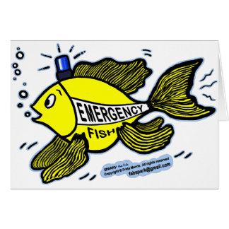 Pescados de la emergencia con la luz azul tarjeta de felicitación