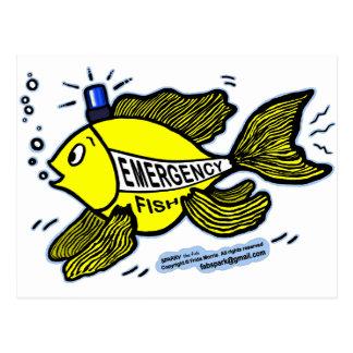 Pescados de la emergencia con la luz azul postales