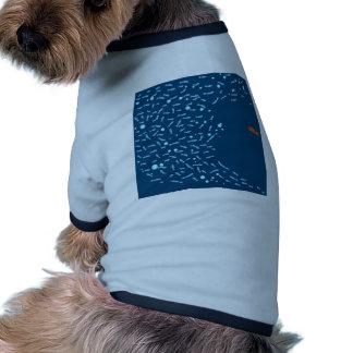 Pescados de la escuela camiseta con mangas para perro