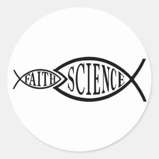 Pescados de la fe de los triunfos de la ciencia pegatina redonda