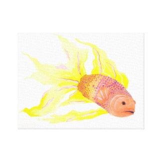 Pescados de la llama impresión en lienzo estirada