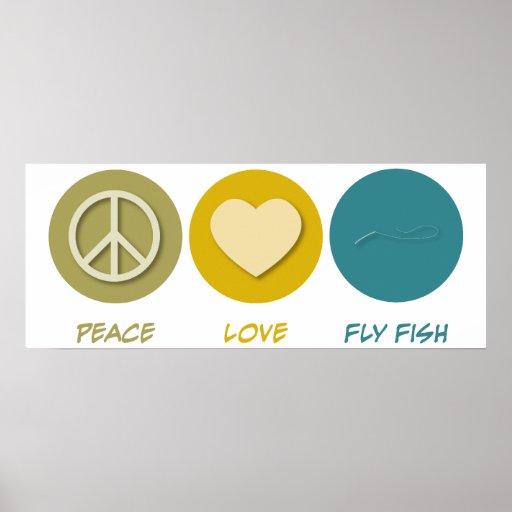 Pescados de la mosca del amor de la paz impresiones