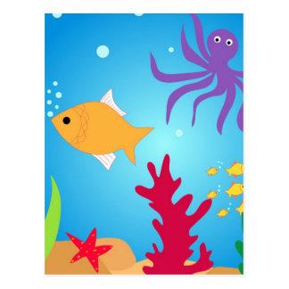 Pescados de la natación tarjeta postal