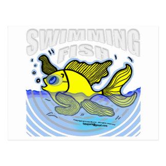 Pescados de la natación tarjetas postales