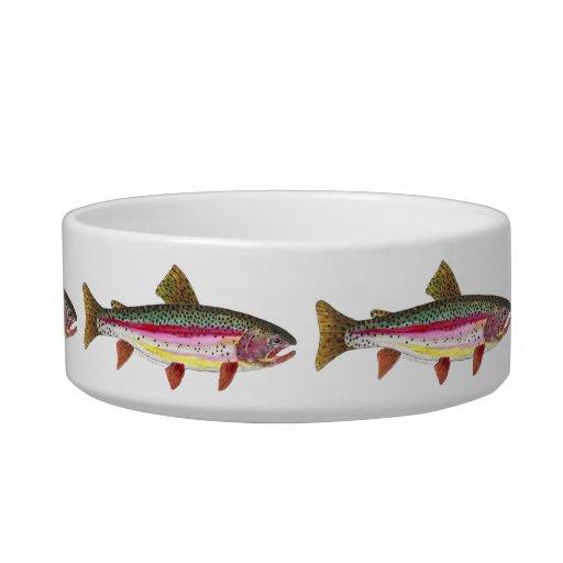Pescados de la trucha arco iris tazón para comida gato