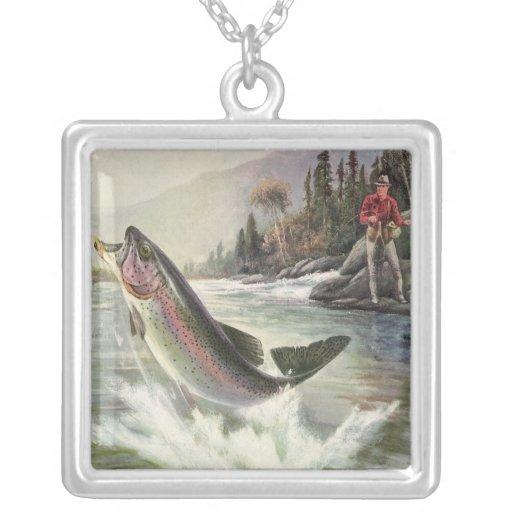 Pescados de la trucha arco iris de la pesca del colgante cuadrado