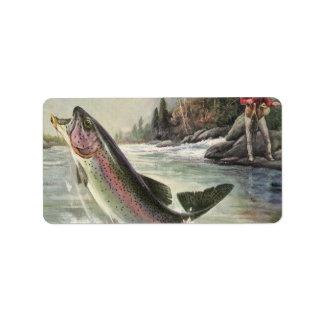 Pescados de la trucha arco iris de la pesca del etiqueta de dirección