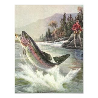 """Pescados de la trucha arco iris de la pesca del invitación 4.25"""" x 5.5"""""""