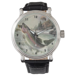 Pescados de la trucha arco iris de la pesca del reloj de mano