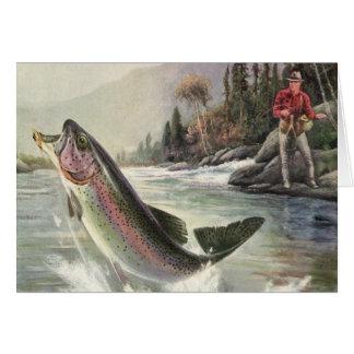 Pescados de la trucha arco iris de la pesca del tarjeta de felicitación