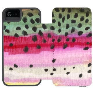 Pescados de la trucha arco iris funda billetera para iPhone 5 watson
