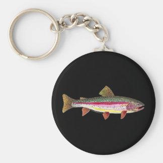 Pescados de la trucha arco iris llavero redondo tipo pin