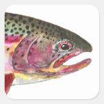 Pescados de la trucha arco iris calcomania cuadrada personalizada