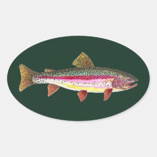 Pescados de la trucha arco iris pegatina ovalada